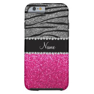 Custom name pink glitter light gray zebra stripes tough iPhone 6 case