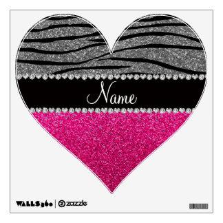 Custom name pink glitter light gray zebra stripes wall decor