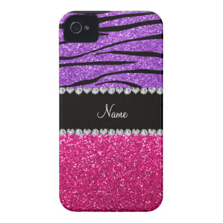 Custom name pink glitter pastel purple zebra strip iPhone 4 case