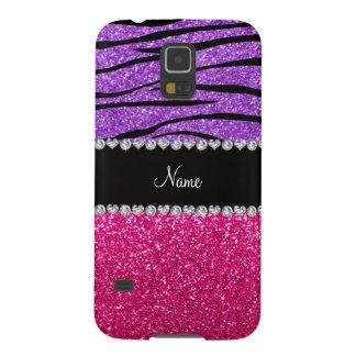 Custom name pink glitter pastel purple zebra strip galaxy s5 case