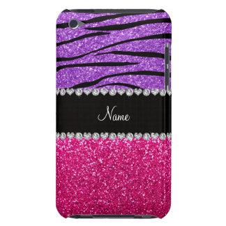 Custom name pink glitter pastel purple zebra strip iPod touch cover