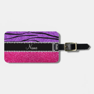 Custom name pink glitter pastel purple zebra strip luggage tag