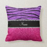 Custom name pink glitter pastel purple zebra strip pillow