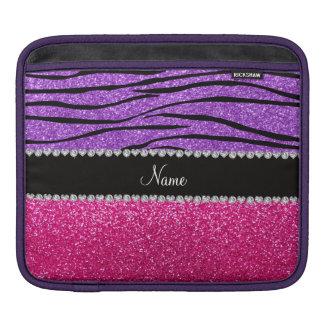 Custom name pink glitter pastel purple zebra strip sleeves for iPads