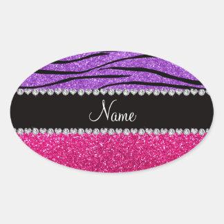 Custom name pink glitter pastel purple zebra strip oval stickers