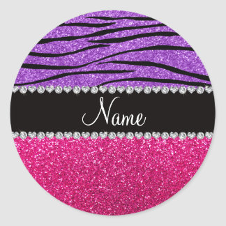 Custom name pink glitter pastel purple zebra strip stickers
