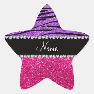 Custom name pink glitter pastel purple zebra strip sticker