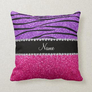 Custom name pink glitter pastel purple zebra strip throw pillow
