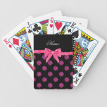 Custom name pink glitter polka dots bow bicycle playing cards