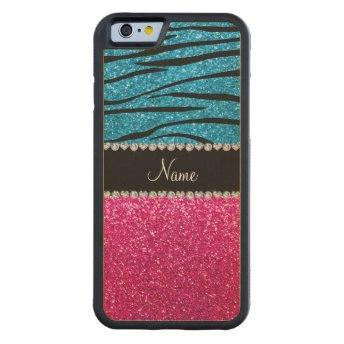 Custom name pink glitter sky blue zebra stripes maple iPhone 6 bumper case