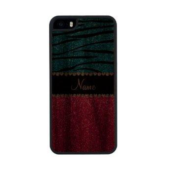 Custom name pink glitter sky blue zebra stripes walnut iPhone 5 slim case