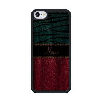 Custom name pink glitter sky blue zebra stripes walnut iPhone 5C slim case