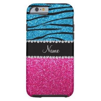 Custom name pink glitter sky blue zebra stripes iPhone 6 case