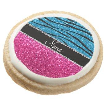 Custom name pink glitter sky blue zebra stripes round sugar cookie