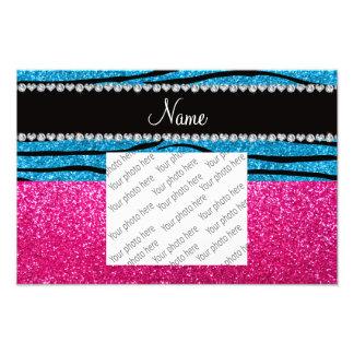 Custom name pink glitter sky blue zebra stripes art photo