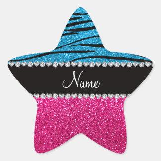 Custom name pink glitter sky blue zebra stripes star sticker