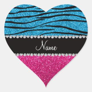 Custom name pink glitter sky blue zebra stripes heart sticker