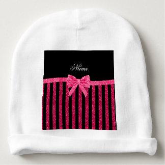 Custom name pink glitter stripes glitter bow baby beanie