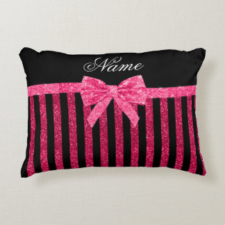 Custom name pink glitter stripes glitter bow decorative pillow