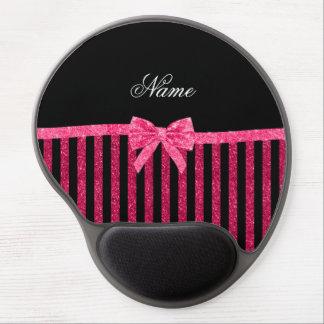 Custom name pink glitter stripes glitter bow gel mouse pad