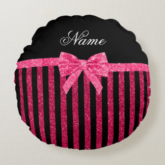 Custom name pink glitter stripes glitter bow round pillow