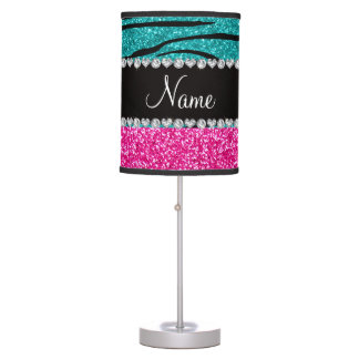Custom name pink glitter turquoise zebra stripes desk lamp