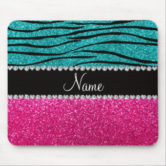 Custom name pink glitter turquoise zebra stripes mouse pad