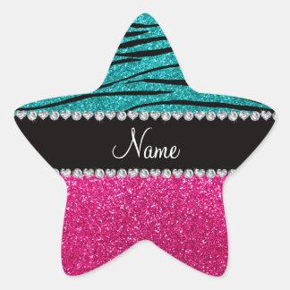 Custom name pink glitter turquoise zebra stripes stickers