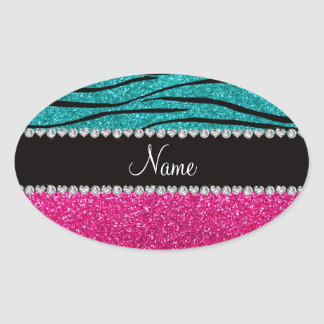 Custom name pink glitter turquoise zebra stripes sticker