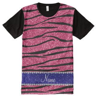 Custom name pink glitter zebra blue glitter stripe All-Over print t-shirt