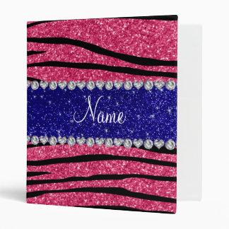 Custom name pink glitter zebra blue glitter stripe vinyl binder