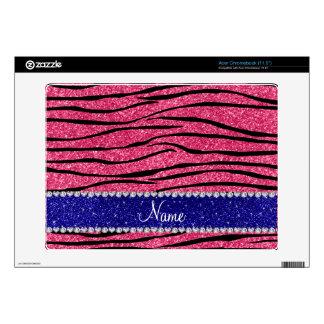Custom name pink glitter zebra blue glitter stripe acer chromebook decal