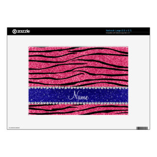Custom name pink glitter zebra blue glitter stripe large netbook skins