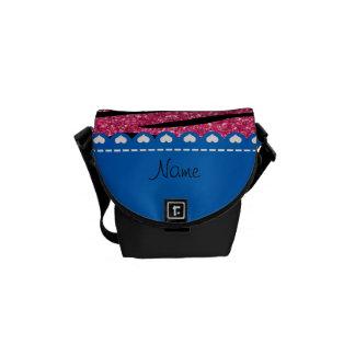 Custom name pink glitter zebra stripes blue stripe messenger bag