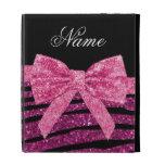 Custom name pink glitter zebra stripes bow iPad folio cases