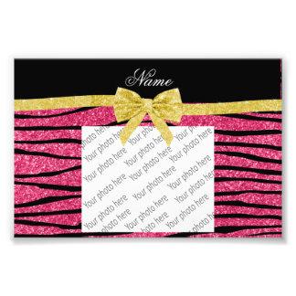 Custom name pink glitter zebra stripes gold bow photo print