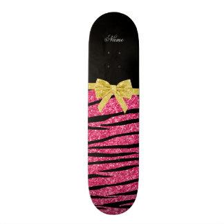 Custom name pink glitter zebra stripes gold bow skate board