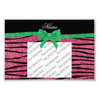 Custom name pink glitter zebra stripes green bow photo print