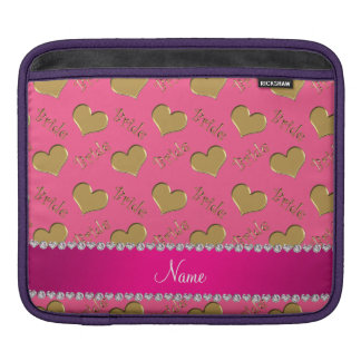 Custom name pink gold bride hearts sleeves for iPads
