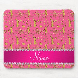 Custom name pink gold cheerleading bows hearts mouse pad