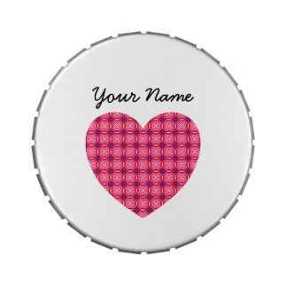 Custom Name Pink Heart Jelly Belly™ Giant Snip Sna Candy Tins