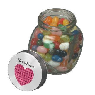 Custom Name Pink Heart Jelly Belly™ Glass Jar