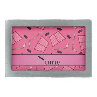 Custom name pink hockey sticks pucks nets belt buckles