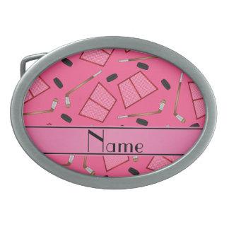 Custom name pink hockey sticks pucks nets belt buckle