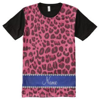 Custom name pink leopard print blue stripe All-Over print t-shirt
