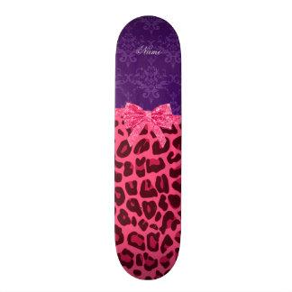 Custom name pink leopard purple damask bow skateboards