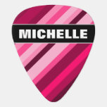 [ Thumbnail: Custom Name + Pink/Magenta Stripes Pattern Guitar Pick ]