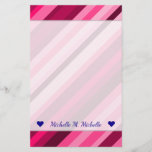 [ Thumbnail: Custom Name + Pink/Magenta Stripes Pattern Stationery ]