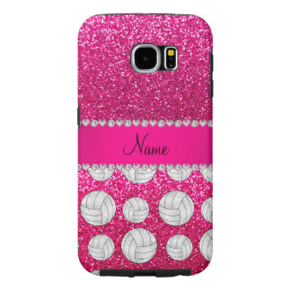 Custom name pink neon hot pink glitter volleyballs samsung galaxy s6 case