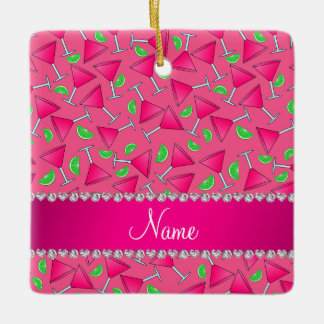 Custom name pink on pink cosmos limes ceramic ornament